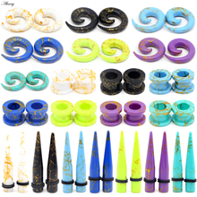 3 Pair Acrylic Spiral Ear Tunnel Stretching Taper Black White Green Piercing Ear Expander Plugs Body piercing Jewelry 2mm-12mm