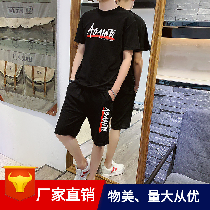 Short Sleeve Set MEN'S T-shirt Loose-Fit Summer 2019 New Style Korean-style Trend Casual MEN'S Suit Popular Brand Two-Piece Set