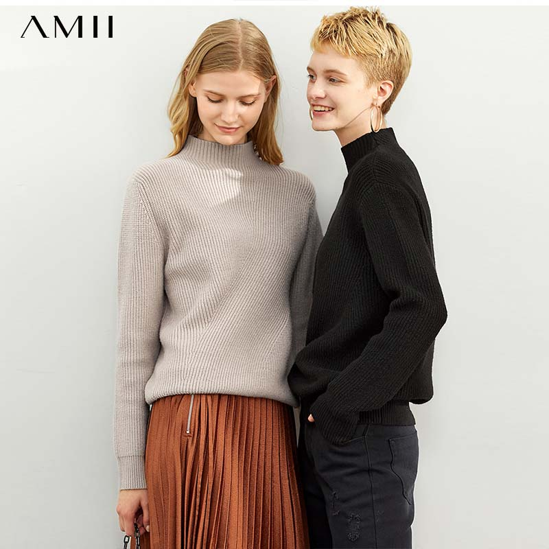 [winter Sale For Festival]Amii  French Ins 100-tie Sweater Fall  New Rabbit-like Half-high-collar Stitched Loose Top 11920176