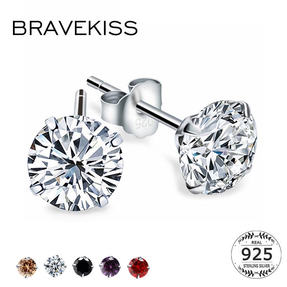 BRAVEKISS Fashion Crystal Zirconia 925 Sterling Silver Stud Earrings For Women Jewelry Cubic Zircon Stone Accessories BLE0285