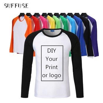 Raglan Long Sleeve T-Shirts Men/woman/kid Custom T-shirt Own Design Logo Printing Shirts Casual Autumn Parent-child clothes