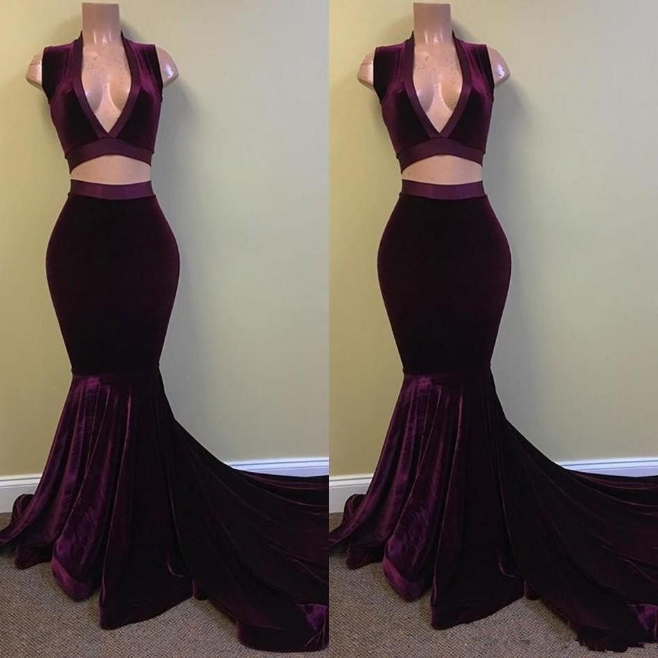 Modest Sexy Two Pieces Velvet Mermaid Prom Dresses 2019 Deep V Neck Backless Court Train Formal Evening Party Gowns Prom Dress