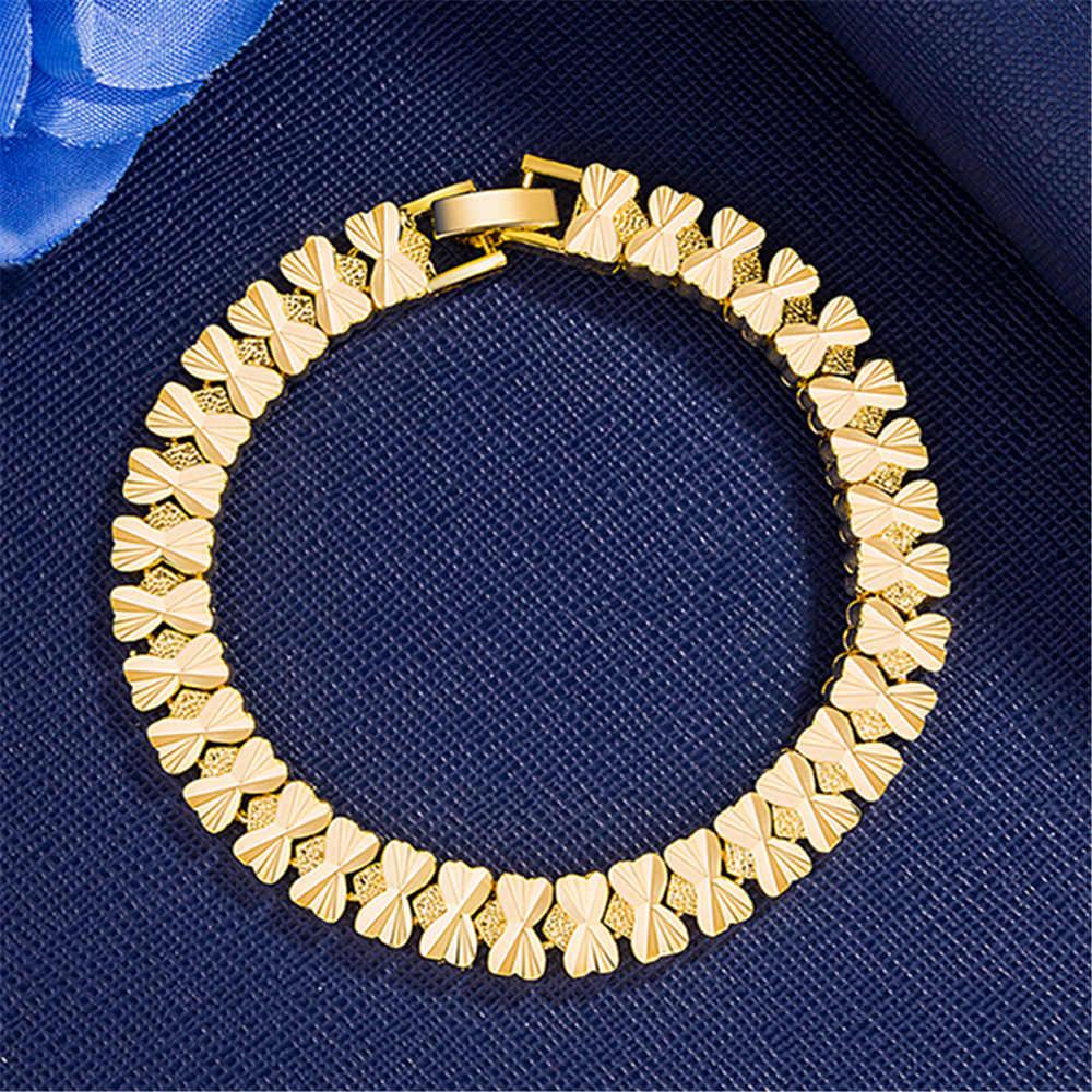 Nouveau style alluvial or bijoux 24K maintient la couleur or hommes et femmes bracelet en laiton plaqué or COUPLE'S bracelet montre or
