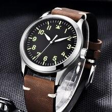 Corgeut 42mm erkek izle otomatik lüks marka spor tasarım safir cam saat deri kendini rüzgar mekanik bilek saatler