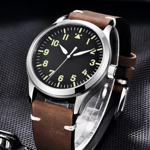 Corgeut Reloj de 42mm para hombre, automático, de lujo, de marca DISEÑO DEPORTIVO, de cristal de zafiro, de cuero, relojes de pulsera mecánicos