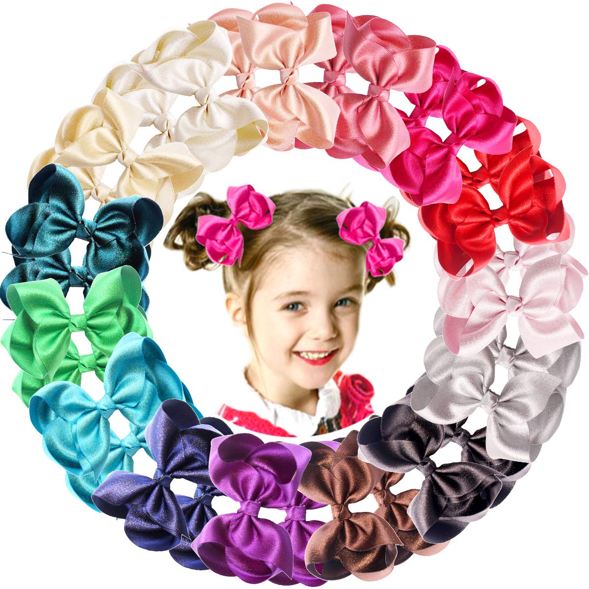 30 Pieces Baby Girls Hair Bows Alligator Clips Grosgrain Ribbon 4.5