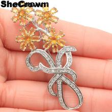 58x25mm Beautiful Created Long Flowers Shape Golden Citrine CZ Ladies Party Silver Brooch