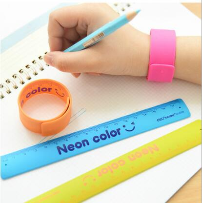 1 Pcs Cute Student Ruler Candy Color Silicone Foldable Rulers Home Office School Kids Metric Straight Ruler Stationery Gifts
