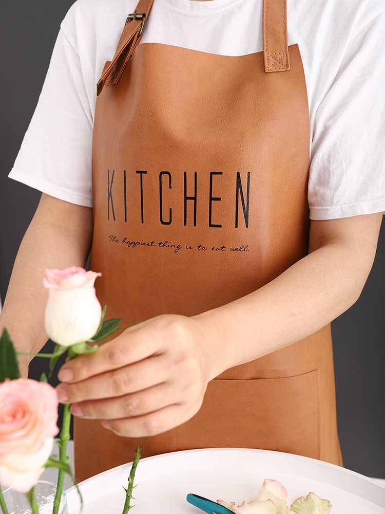 Senyue עור בישול אפיית סינרים עמיד למים שמן הוכחה מטבח סינר מסעדה לנשים בית סינר שרוולים