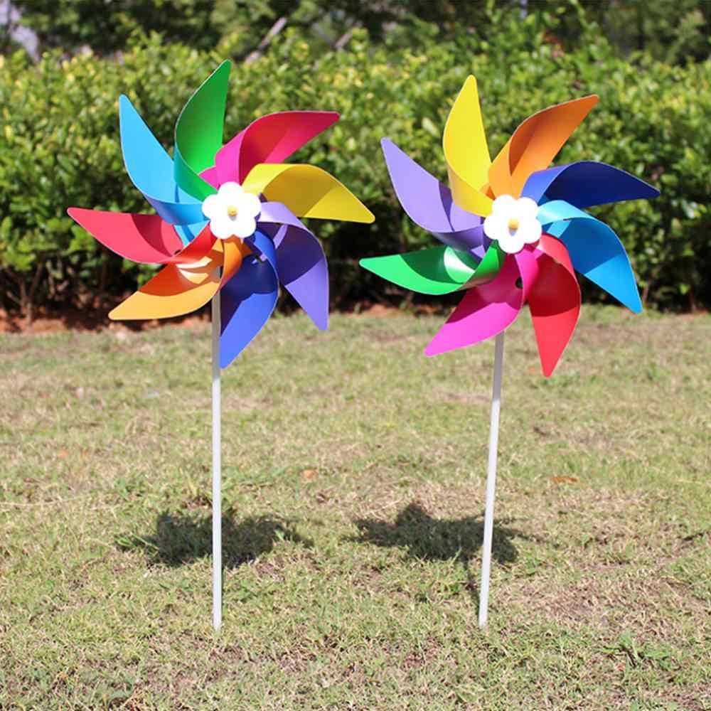 Plastikowe kolorowe wiatraczek wiatraczek zabawka dla dzieci trawnik ogród Yard Party Decor Outdoor Handmade