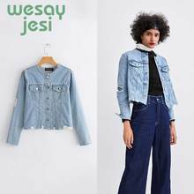 Harajuku Denim Jackets Women Autumn casual Coats office Female chic slim Tops Cute Solid Color Clothing with pocket
