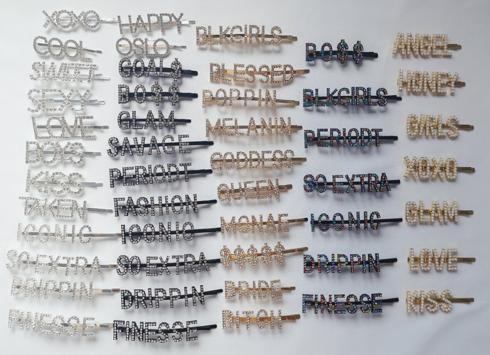 Shiny Crystal Letter hair clip Bobby Pin Alphabet Rhinestone gold Word Hair Pin Girls words hair clips Fashion Hair Accessories