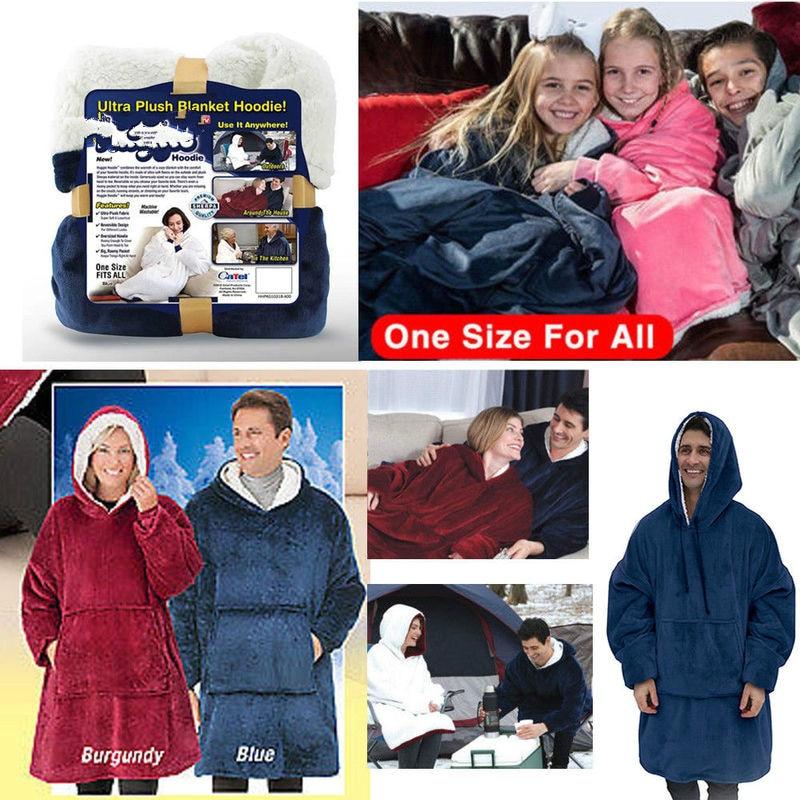 Over Size Blanket Sweatshirt Hoodie Ultra Plush Soft & Warm Outdoor Winter Hooded Coats Bathrobe Fleece Pullover For Men Women
