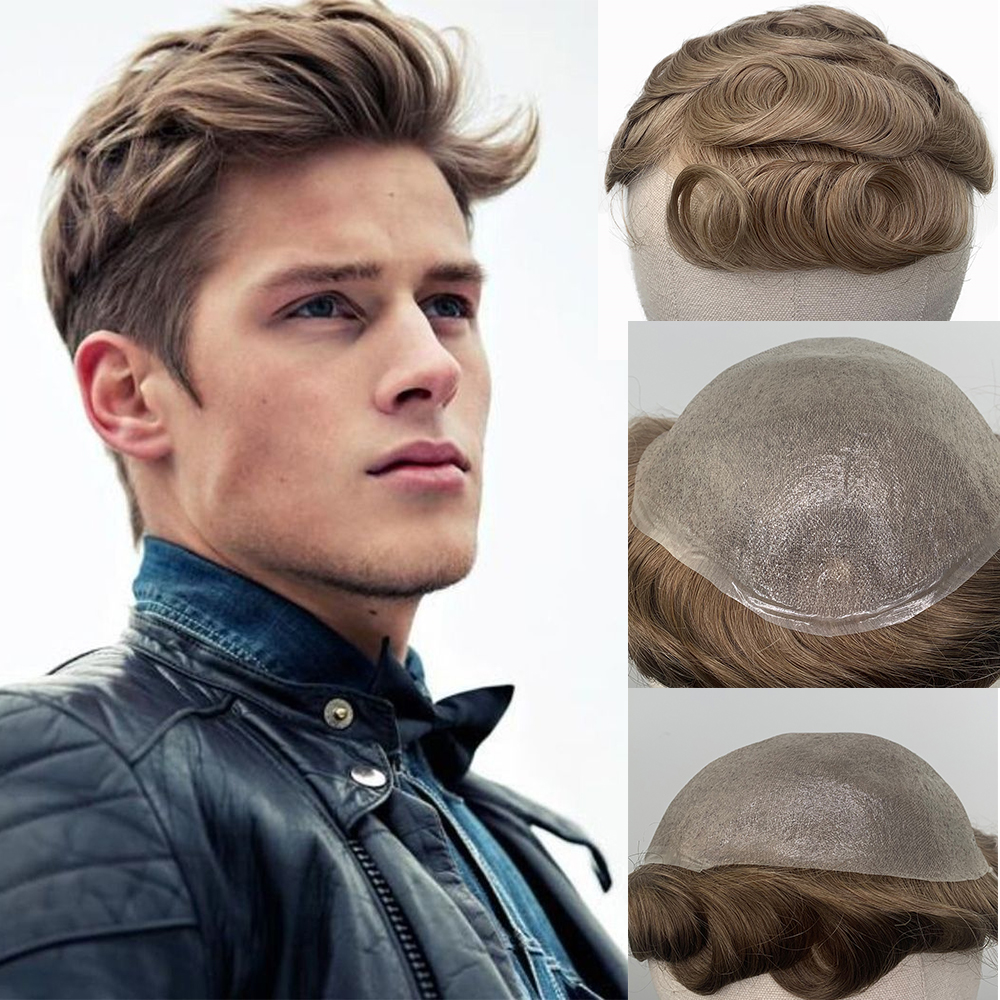 YY Wigs Men's Toupee Parting Anywhere Brown 8x10 Thin Pu Color Skin Replacement System 6 Inch Brazilian Remy Hairpiece Men Wigs