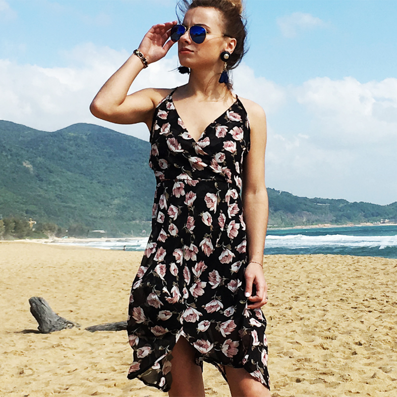 Sundress Waist Beach Mini Print V Neck Holidays Style 2019 Dress Casual Fashion Women Sexy Strap Female High Spaghetti Summer