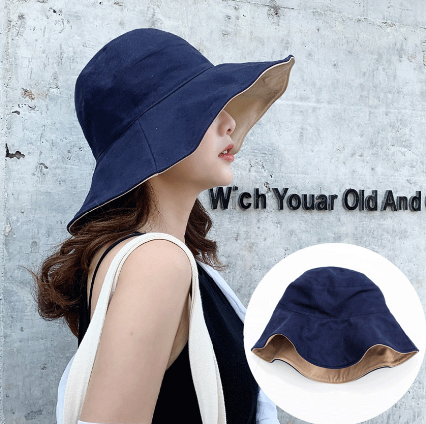 Sun Hats For Women Outdoor Big Edge Fisherman Hat Turned Along Curled Cloth Hat Foldable Sun Hat