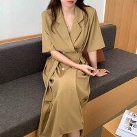 Koreanische Chic Sommer Kleid Französisch Stil Anzug Kragen Kleid Frau Zweireiher Spitze Up Taille Schlank Kurzarm Teil Kleid