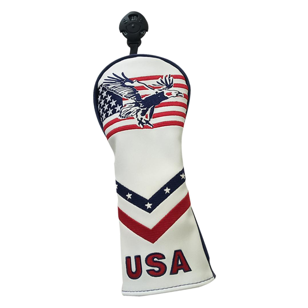 1 Piece PU Leather Golf 460cc Driver Wood Head Covers Headcover Protector & Interchangeable No. Tags - USA Flag Embroidery