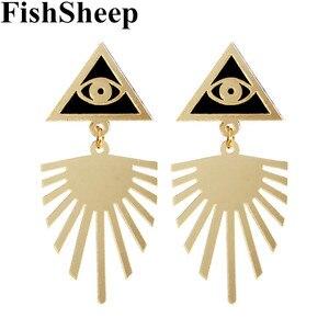 FishSheep Индивидуальные Акриловые милые треугольные глаза большие серьги винтажные золотые геометрические полые длинные висячие серьги ювел...