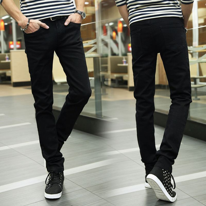 2017 Spring And Summer Thin Elastic MEN'S Jeans Men's Casual Black Trousers Students Korean-style Fashion Black And White With P