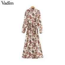 Vadim feminino doce floral impressão maxi vestido laço faixas de manga longa feminino casual chique vestidos comprimento do tornozelo qd070