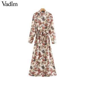 Image 1 - Vadim frauen süße floral print maxi kleid fliege schärpen langarm weibliche casual chic kleider knöchel länge vestidos QD070