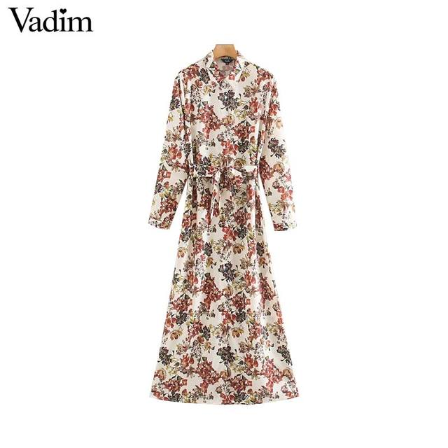 Vadim frauen süße floral print maxi kleid fliege schärpen langarm weibliche casual chic kleider knöchel länge vestidos QD070