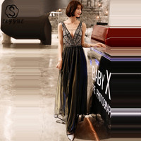 Skyyue Evening Dress 2019 A line Floor Length Robe De Soiree HH075 Crystal Sequin Women Party Dresses Sleeveles Tank Formal Gown
