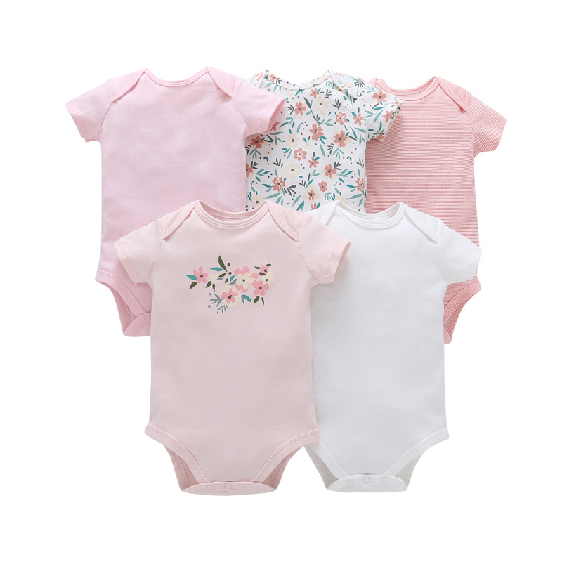 Baby Clothes 5Pcs/lots Unisex Newborn Boy&Girl Rompers roupas de bebes Cotton Baby Toddler Jumpsuits Short Sleeve Baby Clothing