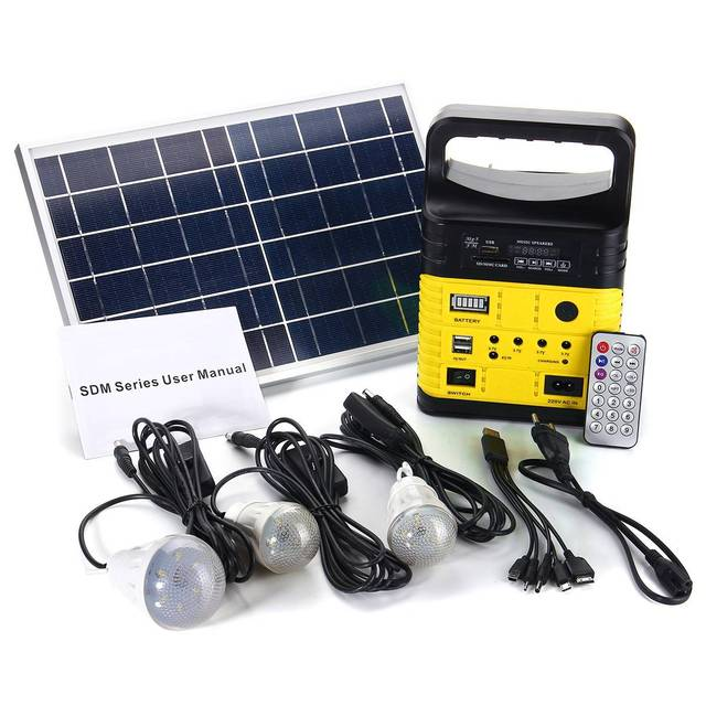 10W Portable Solar Generator Outdoor Power Mini DC6W Solar Panel 6V-9Ah Lead-acid Battery Charging LED Lighting System