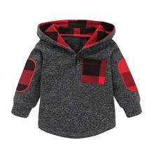 Весенне-осенняя одежда для маленьких мальчиков и девочек, новые клетчатые толстовки с капюшоном, свитера, хлопковые повседневные топы с длинными рукавами для младенцев
