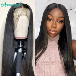 Asteria Hair-pelucas de cabello humano con encaje frontal para mujer negra, 250% de densidad, cabello recto malayo, prearrancado