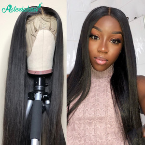 Asteria Hair 13X4 Lace Front Human Hair Wigs For Black Woman 250% Density Malaysian Straight Lace Front Wigs Pre Plucked Wig(China)