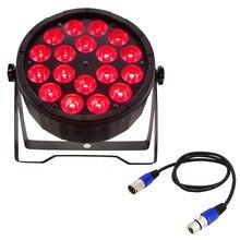 1 peças 18x12w led par luz + 1 peças dmx linha de sinal dj tingimento luz plana par rgbw 4in1 led