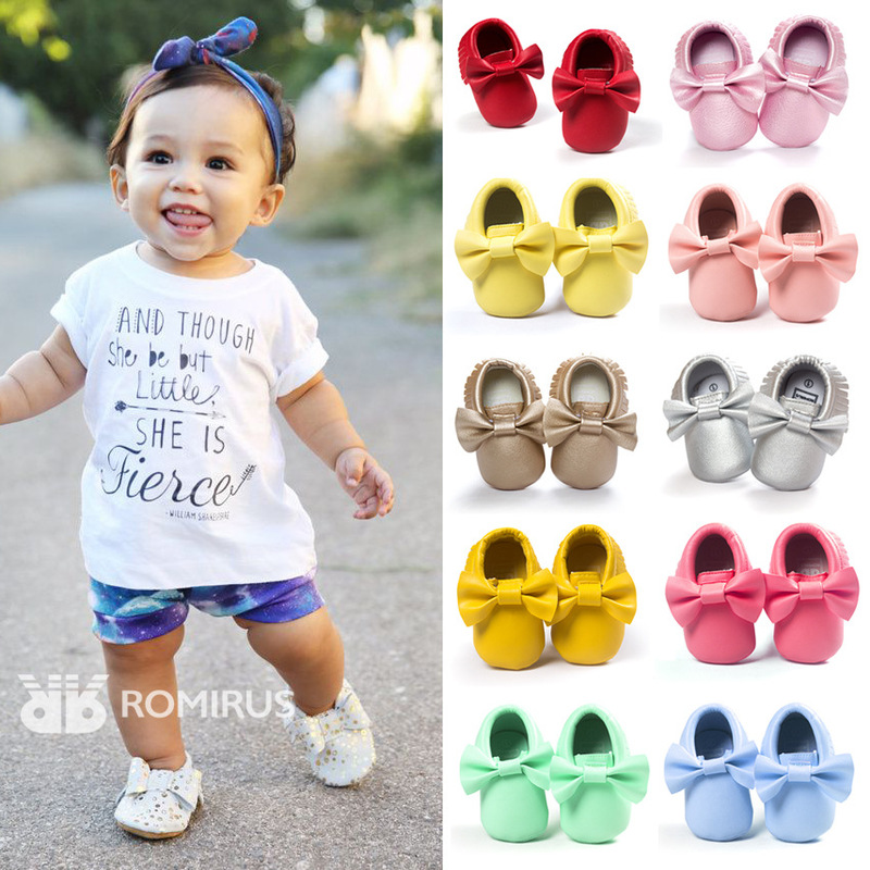 Newborn Baby Girl Shoes Toddler Soft Sole Multicolor PU Butterfly-knot Infant Tassels Anti-Slip First Walkers Baby Crib Shoes