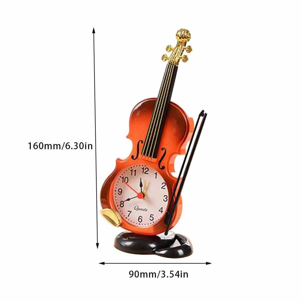 محاكاة كمان ساعة تنبيه الإبداعية الموسيقية شكل سطح المكتب ساعة غرفة المعيشة البلاستيك الحلي مكتب طالب على مدار الساعة