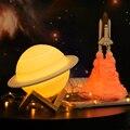 2019 NEUE Dropship Wiederaufladbare 3D Druck Saturn Lampe Wie Mond Lampe Nacht Licht Für Mond licht mit 2 Farben 16 farben Remote Geschenke-in LED-Nachtlichter aus Licht & Beleuchtung bei