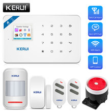 Kerui w18 sistema de alarme sem fio, gsm sistema de alarme, android, ios, controle app, sistema de alarme de segurança residencial com sensor de movimento pir ip câmera fotográfica para câmera