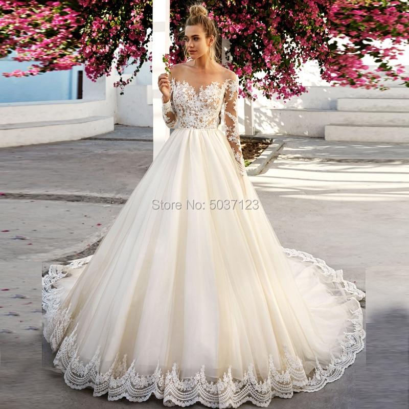 Light Champagne Ball Gown Wedding Dresses Off The Shoulder Long Sleeve Lace Appliques Illusion Court Train Vestido De Noiva