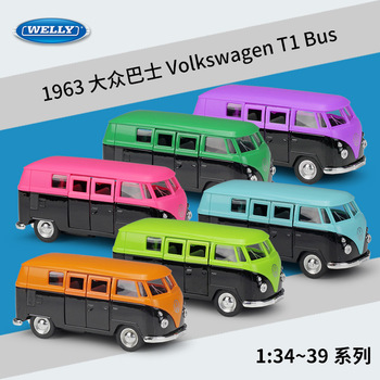 1963 Volkswagen T1 Bus WELLY Cars 1/36 Metal Alloy Diecast Model Cars Toys image