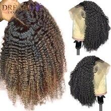 Омбре блонд короткие человеческие волосы парик 13X4 глубокая часть кружева передний парик для женщин бразильский Remy Кудрявый кудрявый парик preprucked 150 плотность