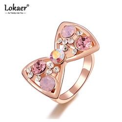 Lokaer Trendy Pink Rhinestone Bowknot Rings Rose Gold Color Crystal Micro-Inserted Wedding Rings Jewelry Anillos R15075