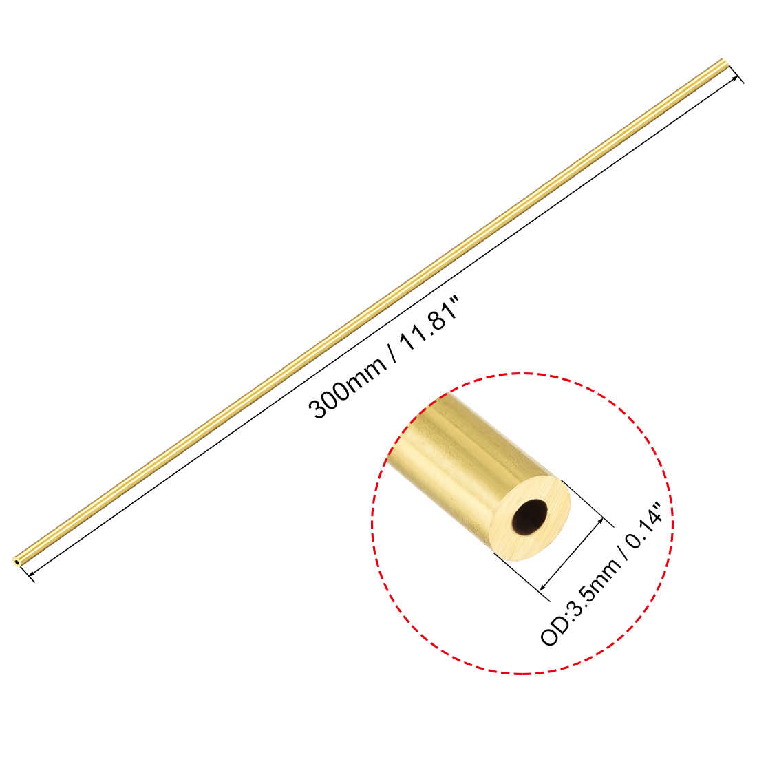 Brass Round Tube 300mm Length 7.5mm OD 0.5mm Wall Thickness Seamless Tubing 3pcs