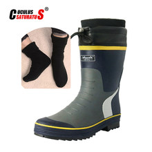 Cuculus 2021 hiver neige Camouflage hommes bottes chaussures de pluie imperméable avec peluche chaud mâle décontracté mi-mollet travail botte de pêche 2119