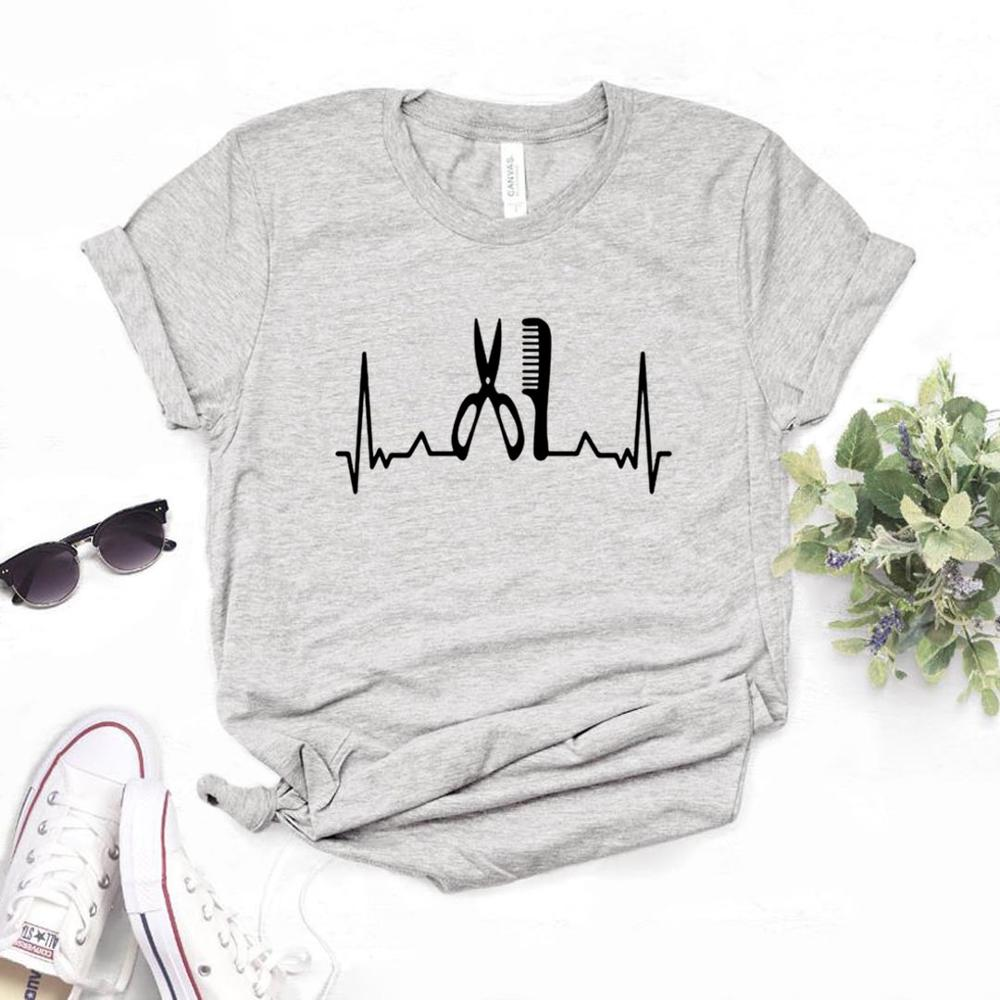 Hairstylist Heartbeat Print Women Tshirts Cotton Casual Funny T Shirt For Lady  Yong Top Tee Hipster 6 Color NA-815