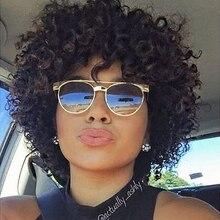 Rebecca Короткие Свободные Вьющиеся парики для черных женщин бразильские Remy Надувные вьющиеся человеческие волосы парики цвет в 1B DX3147