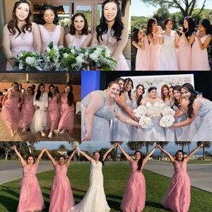 Image 5 - Stokta seksi dantel pembe akşam İnciler ile derin v yaka parti elbiseler kadın resmi A line vestido de festa longo