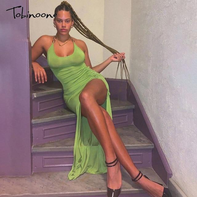 Tobinoone Solid Ruched Drawstring Summer Dress Women Sleeveless Backless Sexy Club Party Dresses Side Split Midi Vestidos 2021 2