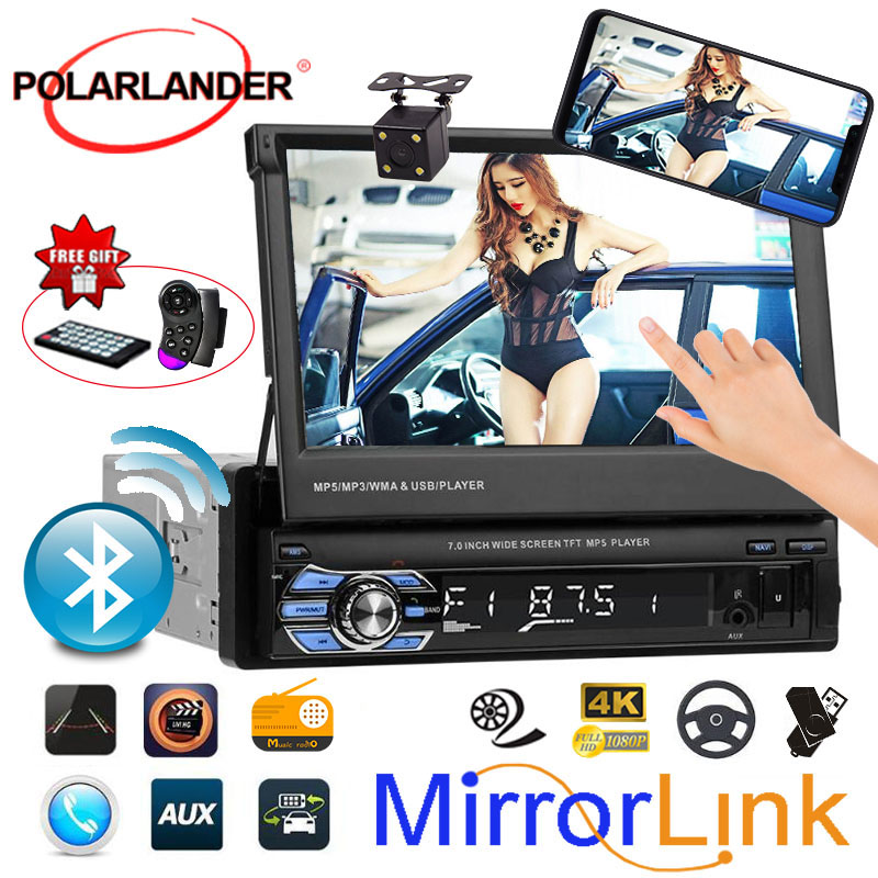 7 inch Mirror Link Car Radio 1 DIN In Dash Stereo FM/Aux/USB/TF/bluetooth/touch screen MP5 MP4 player 3 languages image