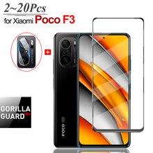 Poco F3 Case & Glass, Full Cover Protective Glass for Xiaomi Poco F3 Armor Glass Pocophone F 3 M3 Poko X3 Pro Clear Camera Film Glass Pocco F3 Poco F3 Pro Case